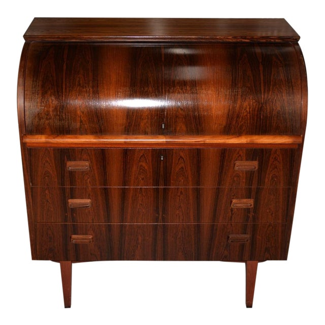 Danish Mid Century Modern Rosewood Cylinder Desk C.1960s Made in Sweden by Ostergaard For Sale