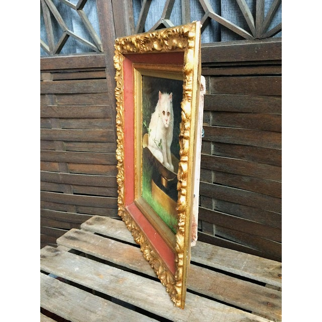 Late 19th Century Late 19th Century Antique George De Forest Brush Cat Oil on Canvas Painting For Sale - Image 5 of 9