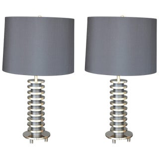 Pair of Brass Lamps in the Manner of Donald Deskey For Sale