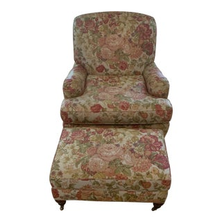 Sherrill Furniture Floral Upholstered English Rolled Arm Chair and Ottoman For Sale