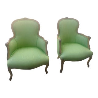 1930s Antique French Carved and Upholstered Bergeres- A Pair For Sale