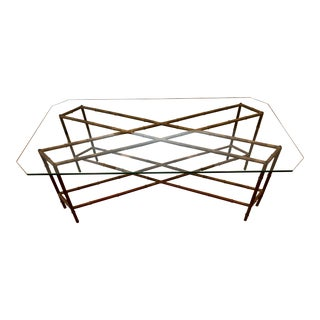 Mid-Century Hollywood Regency Gilt Faux Bamboo Cocktail Table For Sale