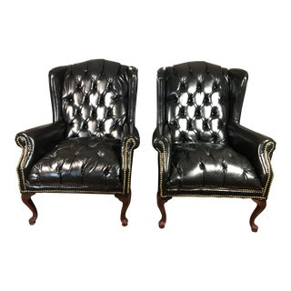 Vintage Black Wingback Chairs - A Pair