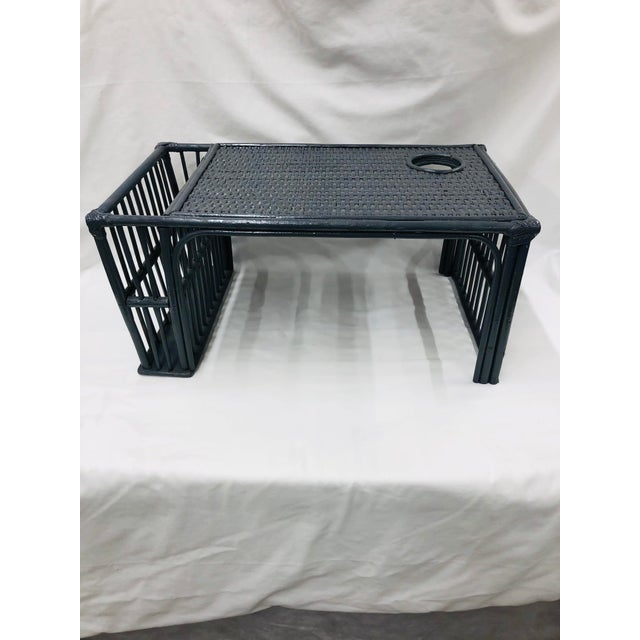Dark Gray Mid Century Bamboo Bed Serving Tray For Sale - Image 8 of 8