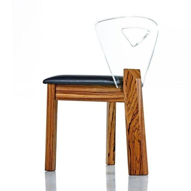 Mid-Century Modern Vintage Modern Lucite Back Zebra Wood Dining Chairs - New Black Vinyl For Sale - Image 3 of 9