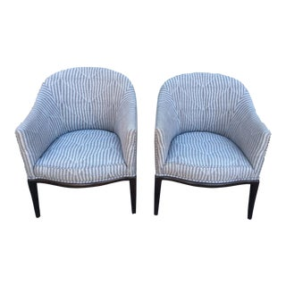 MId-Century Calvin Klein Geometric Patterned Upholstery Fabric Club Chairs- A Pair For Sale