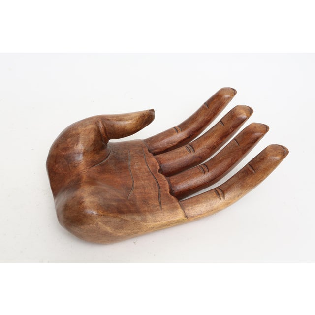 Vintage Oversized Hand Carved Solid Wood Hand Sculpture Tray - Image 6 of 7