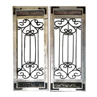 Antique Farmhouse Wood Framed Scrolling Metal Decorative Open Screen Window Shutters - a Pair For Sale