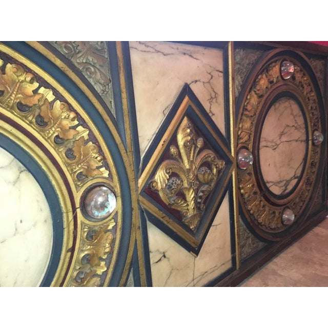 18th Century Antique French Polychrome Wood, Marble, & Glass Panel For Sale - Image 4 of 13