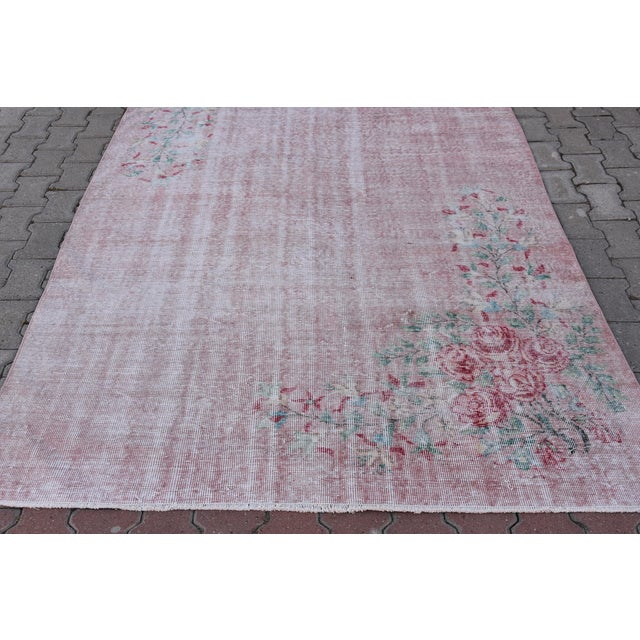 Boho Chic Antique Handmade Faded Area Rug - 5′8″ × 8′7″ For Sale - Image 3 of 9