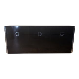 Willy Rizzo for Mario Sabot Black Laminate and Chrome Steel Sideboard, 1970s For Sale