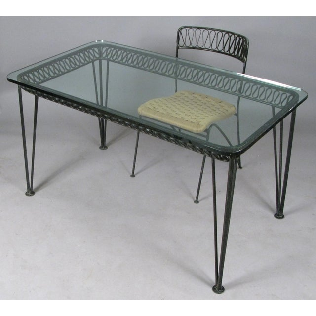 Black 1950s Vintage Tempestini Wrought Iron Desk and Chair For Sale - Image 8 of 8
