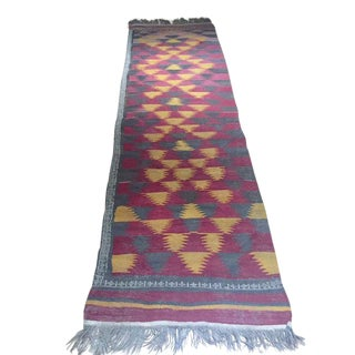 1960s Vintage Turkish Kilim Runner - 3′8″ × 13′6″ For Sale