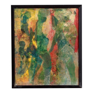 Vintage 1965 Mid-Century Modern Abstract Collage Painting For Sale