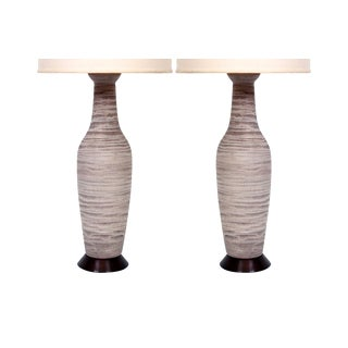 Pair of Large Pottery Table Lamps by Design Technics For Sale