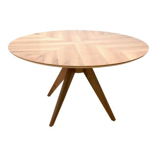 Round Walnut Dining Table in 1950s Style, Italy, 1990s For Sale