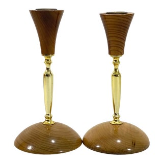 1980s Wood & Brass Candle Holders - Set of 2 For Sale