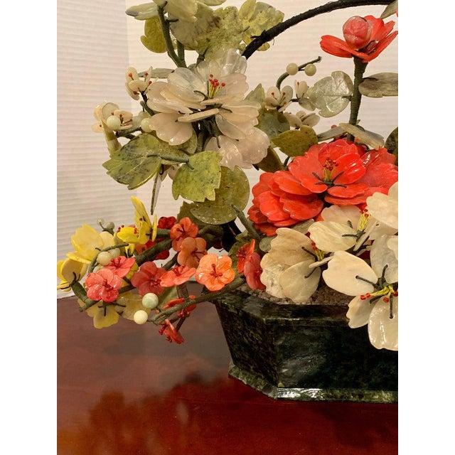 Vintage Chinese Export Hardstone Basket Floral Arrangement For Sale - Image 10 of 13