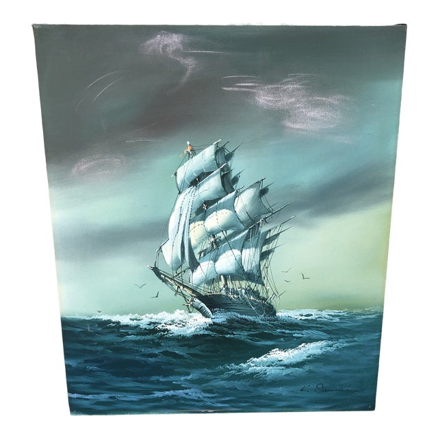 Vintage Oil on Canvas Painting of Ship For Sale