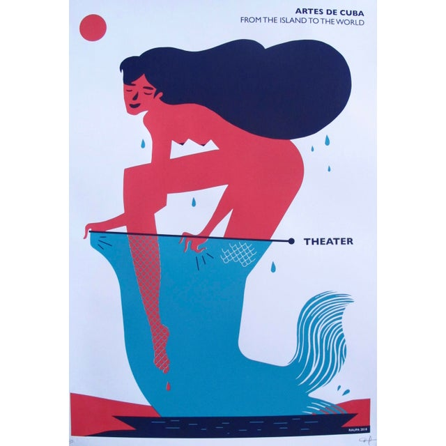 2018 Cuban Silkscreen Poster, Mermaid (Signed, Numbered) For Sale - Image 6 of 6