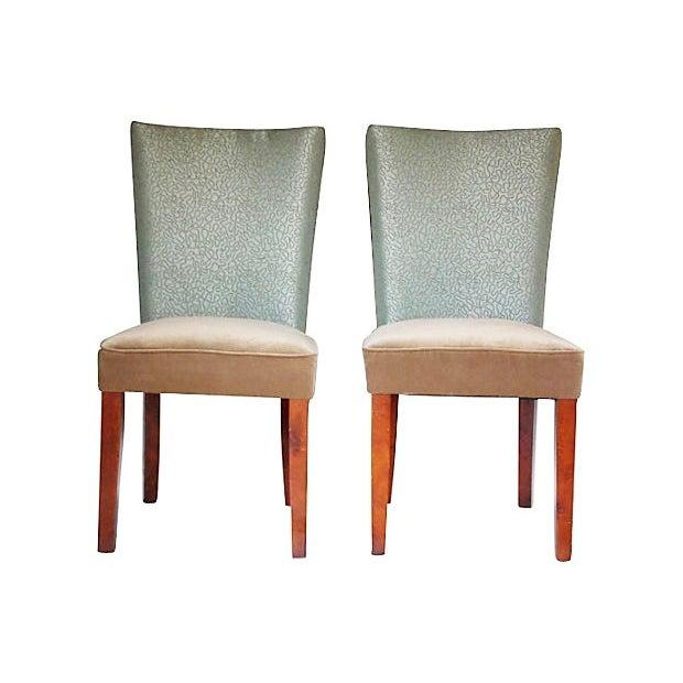 Sea Foam Velvet Swirl Chairs- A Pair - Image 4 of 7