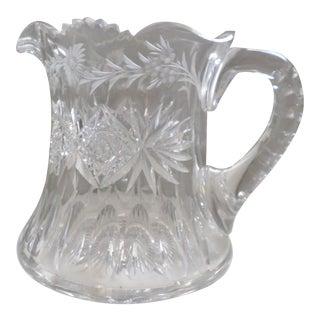 Antique American Brilliant Period Cut Glass Squat Wide Pitcher For Sale