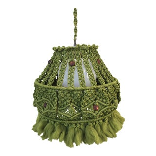 Mid-Century Green Macrame Swag Light For Sale