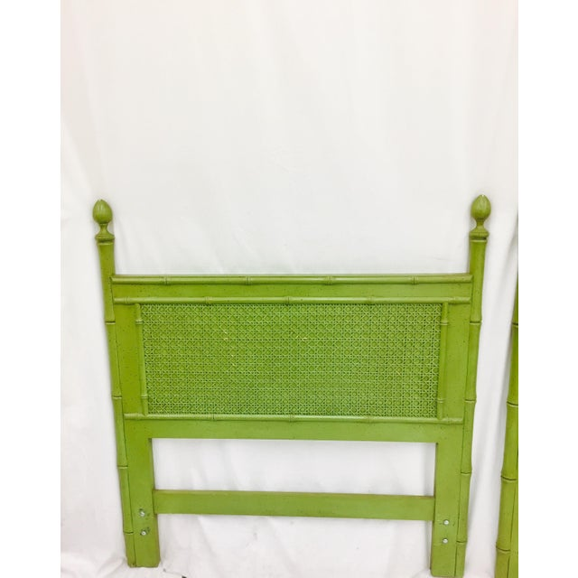 Vintage Green Faux Bamboo Twin Beds - a Pair - Image 4 of 9