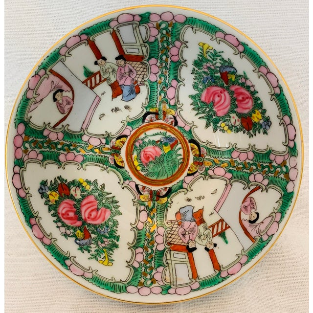 Mid 20th Century Vintage Chinoiserie Hand Painted Porcelain Famille Rose Medallion Bowl For Sale - Image 5 of 5