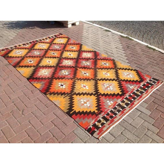 "Boho Chic Vintage Turkish Red & Orange Kilim Rug - 5'2"" X 9' For Sale - Image 3 of 6"