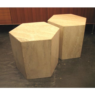 Six Sided Travertine Side Tables - a Pair Preview
