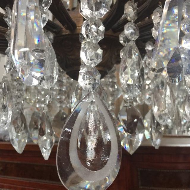48-Light Bronze Colored Crystal Chandelier For Sale - Image 4 of 11