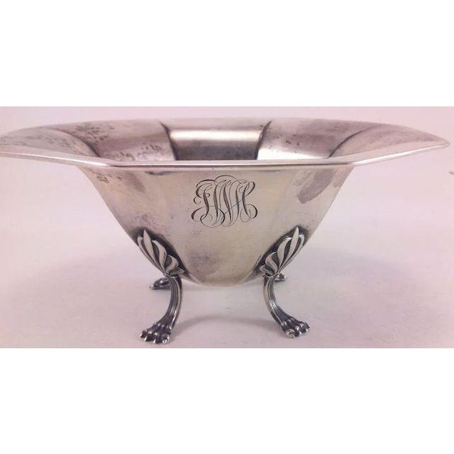 This is a very pretty octagonal sterling silver small bowl or dish with detailed paw feet and art nouveau style knees. It...