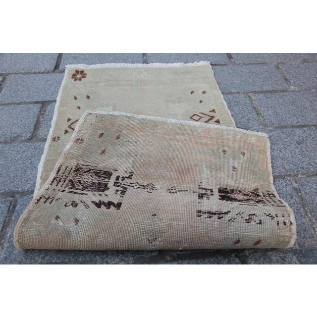 Vintage Turkish Muted Colour Carpet - 3' 5'' X 1' 8'' For Sale - Image 10 of 11