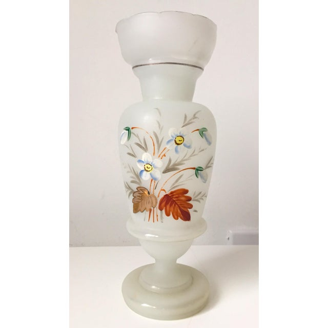 French Opaline Glass Hand Painted Vase - Image 2 of 5