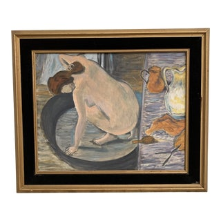 Vintage Oil on Canvas Painting Lady Bathing For Sale
