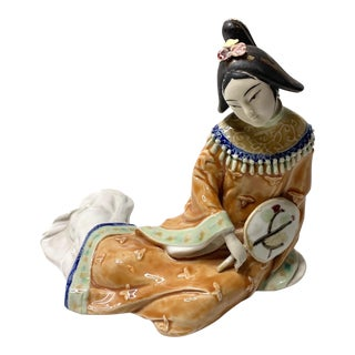Vintage Shiwan Porcelain Lady With Fan Figurine For Sale