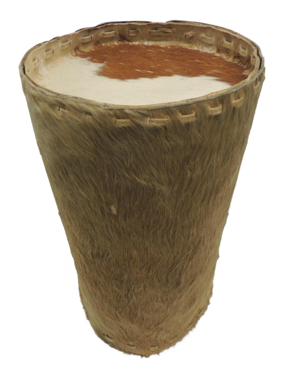 Cowhide Artisanal Brown Leather Side Table/Drum