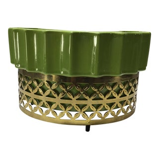 Mid-Century Modern Apple Green and Gold Lamp For Sale