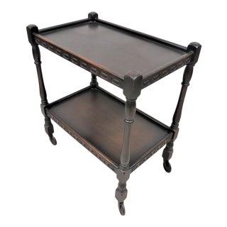 Antique English Dark Oak Rolling Two Tier Tea Cart For Sale