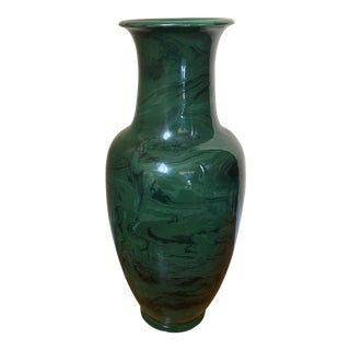 Bitossi Signed Green Marble Pottery Vase For Sale