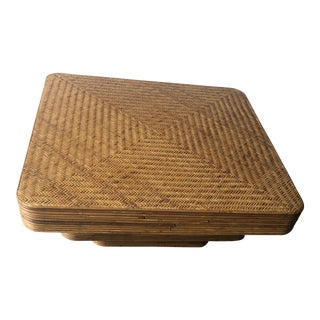 Boho Chic Square Rattan Coffee Table For Sale