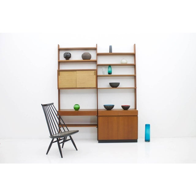 Dieter Waeckerlin Shelf System Wall Unit in Teak Wood, Behr Germany, 1950s For Sale - Image 10 of 11