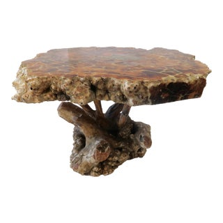 Burlwood Root Base Side Table For Sale