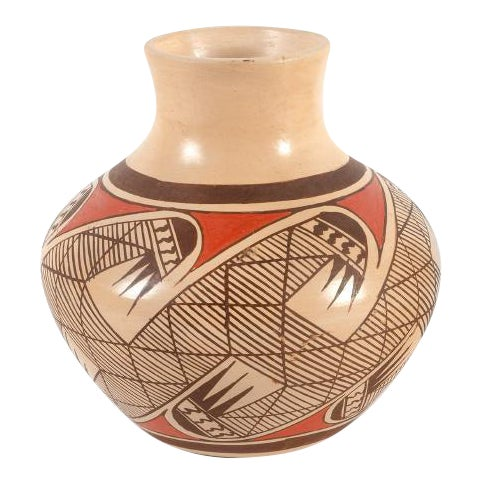 Southwest Clinton Polacca Hopi Polychrome Seed Jar With Migration Pattern For Sale