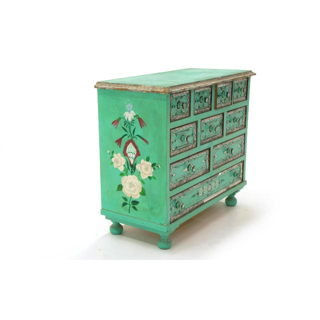 Salvador Corona Hand Painted Cabinet, Mexico / Tucson, 1940s, Signed For Sale In Kansas City - Image 6 of 10