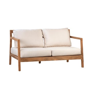 Outdoor Teak Loveseat W/Cushions For Sale