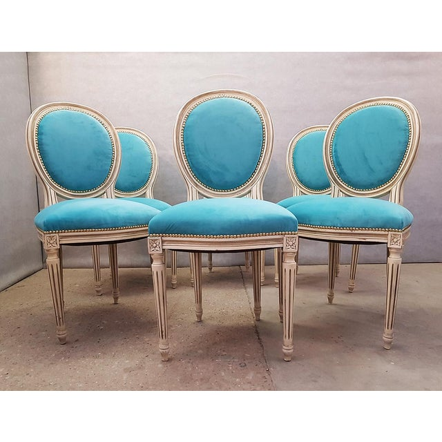 Antique French Reupholstered Whitewashed Louis XVI Medallion Dining Chairs - Set of 6 For Sale - Image 13 of 13