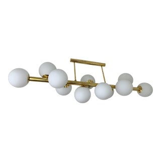 Contemporary Long Brass Chandelier Opaline. Italy