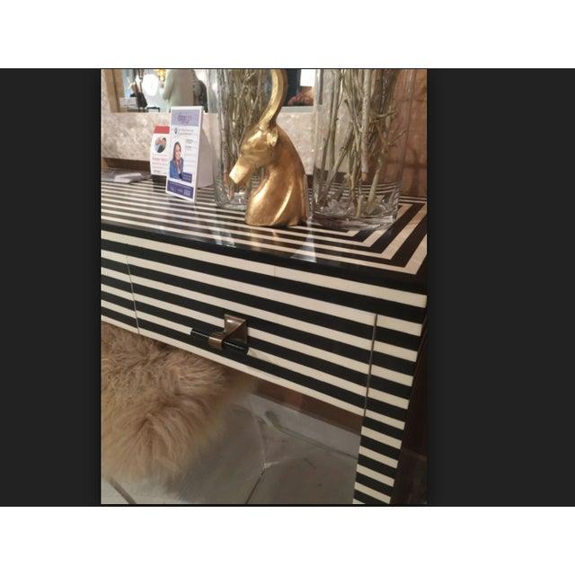 Boho Chic Worlds Away Black & White Bone Sasha Console Table For Sale - Image 3 of 5